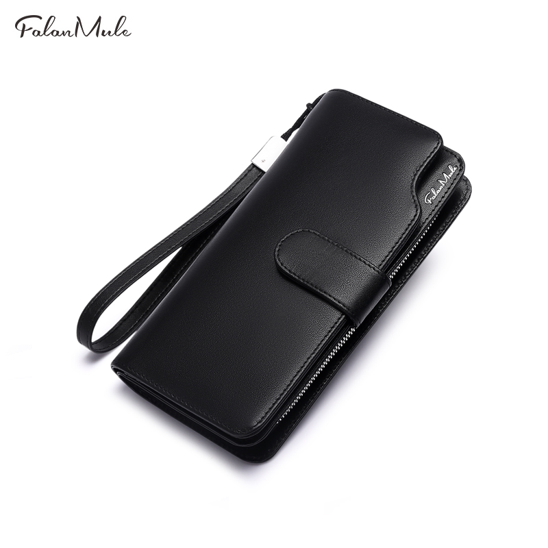 Luxury Genuine Leather Men Wallet Long Purse FALAN MULE New Business Male Clutch Wallets Zipper Coin Pocket Card Holder falan mule genuine leather men wallets short coin purse small vintage men s wallet cowhide leather card holder pocket purse