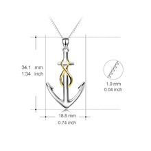 Genuine 925 Sterling Silver Polished Anchor Infinity Love Necklace
