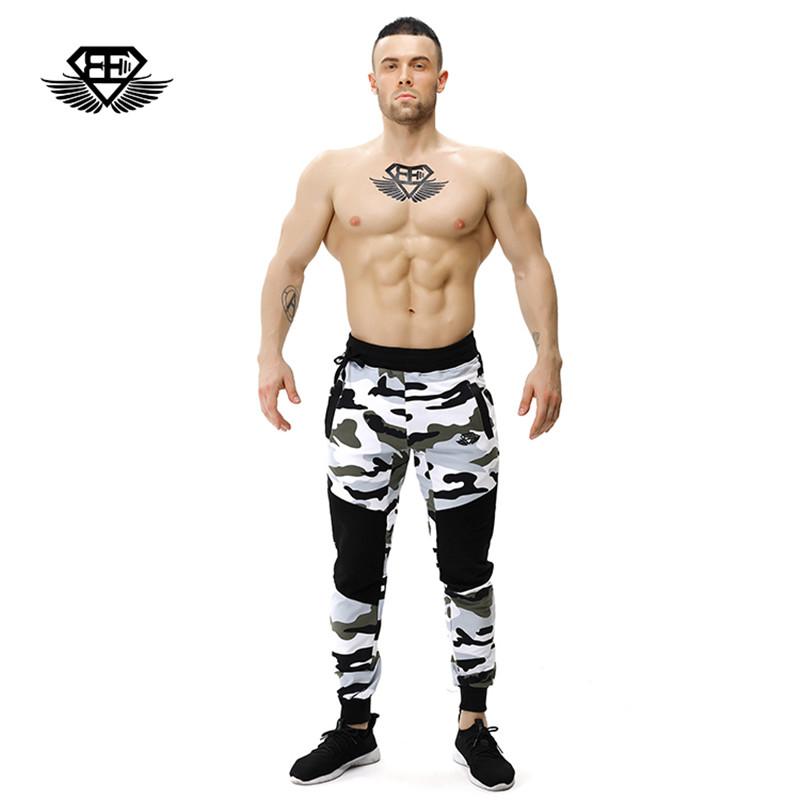 body engineers 2017 men's Summer gyms Camo stretch cotton Men Beam port fitness striped camouflage Casual pants