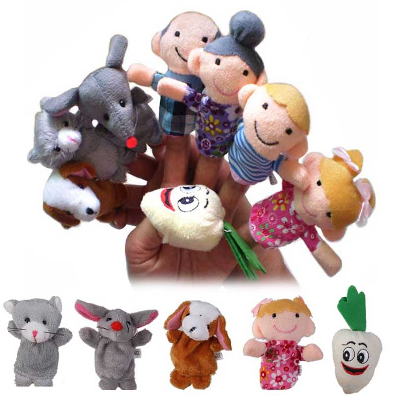 8 Pcs/ set Animals Finger Puppets Toys The Enormous Turnip Story Telling Nursery Fairy Tale Kids Birthday Christmas Gift FJ88