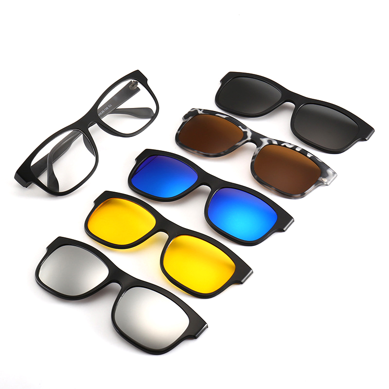 6 Pieces <font><b>Magnetic</b></font> <font><b>Clip</b></font> <font><b>On</b></font> <font><b>Sunglasses</b></font> Polarized <font><b>Magnetic</b></font> Glasses Spectacle Women Male Myopia Optical <font><b>5</b></font> <font><b>in</b></font> <font><b>1</b></font> <font><b>Sunglasses</b></font> <font><b>men</b></font> image