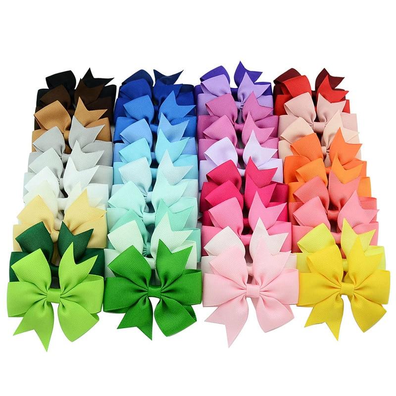 UK 40PCS Handmade Bow Hair Clip Alligator Clips Girls Ribbon Kids Sides Boutique