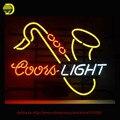 Coors Light Saxhorn Sinal de Néon Neon Lâmpada Sala de Recreação Tubo De Vidro Artesanato sinal de negócio personalizado Lâmpada Exposição da Loja 17x14