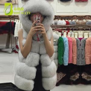 Image 4 - BHUNATI Fashion New Faux Fur Vest Women Hooded Medium long Vertical Solid Color Stripe Coat Artificial Fox Fur Large Size Jacket