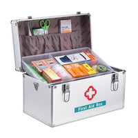 Outdoor Travel First Aid Kit Medical Survival Emergency Kits 2 Layers 14 Inches Silver Aluminium Car Hospital Medicine Box Case