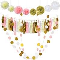 30 Stücke Seidenpapier Pom Poms Blumen Gewebe Quaste Girlande Polka Dot Papiergirlande Kit für Hochzeit Dekorationen