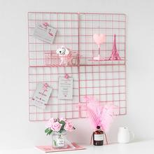 Iron pink grid photo wall decoration girl room layout net red hanging creative decorations 1pcs home