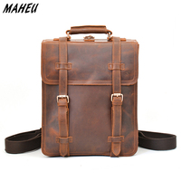 Genuine Leather Men S Backpack Crazy Horse Cow Leather Daypack Large Capacity Travel Tote Bag With