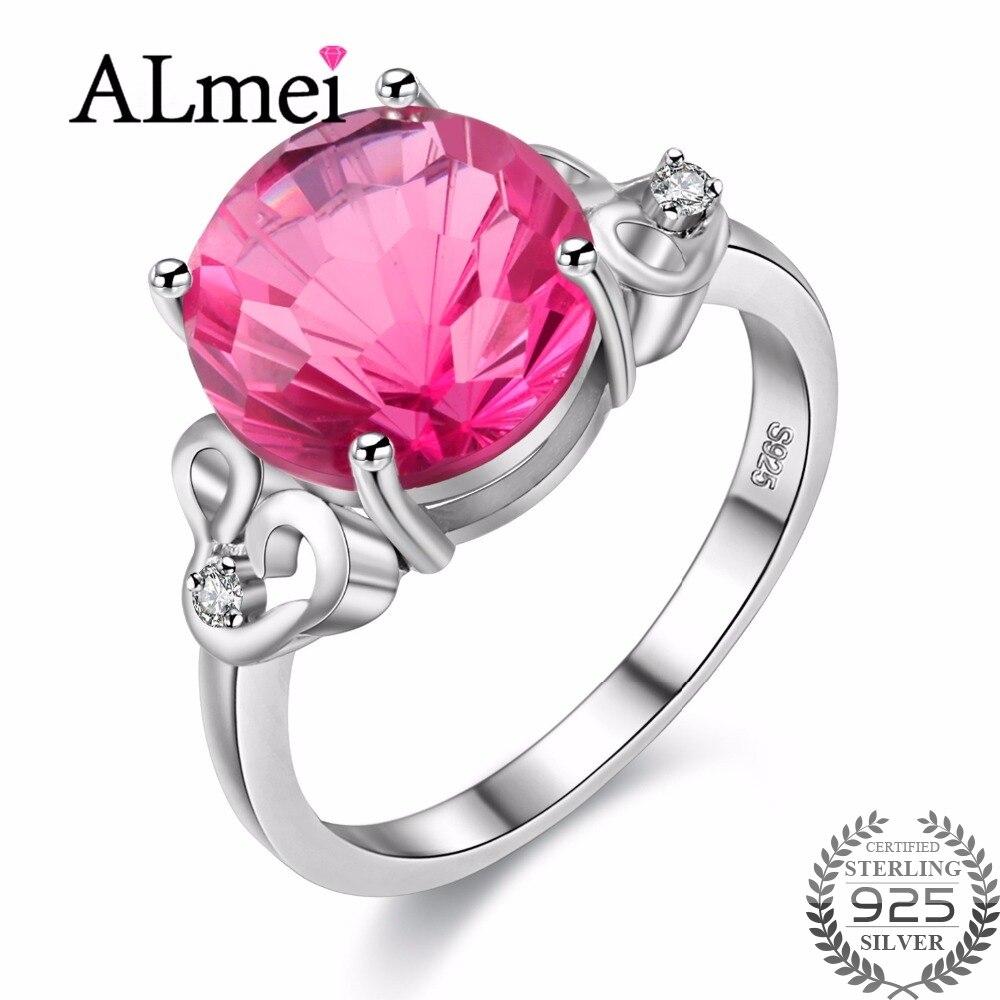 Almei งานแต่งงานเครื่องประดับสำหรับเจ้าสาว 925 เงินสเตอร์ลิง Big Topaz Zircon แหวนผู้หญิงแหวนพลอยธรรมชาติกล่อง 40% FJ077-ใน ห่วง จาก อัญมณีและเครื่องประดับ บน   1