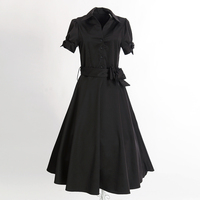Elegant Evening Party Dress Calf Long Bridal Wedding Dress Black Cotton Short Sleeves Formal Rockabilly Clothing