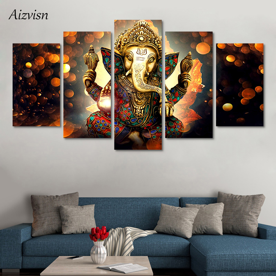 Aizvisn 5 Piece Modular Wall Paintings Elephant Trunk God Canvas Paintings Print Poster Ganesha Decor Room Art Modern Paintings