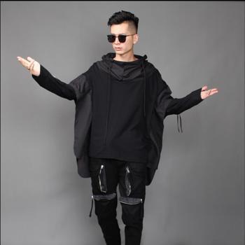 M-3xl Autumn New Men's Loose Large Size Fake Two Long-sleeved Sweatshirts Personality Hair Stylist Windbreaker Tide Hoodies