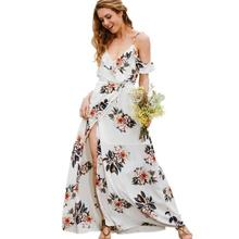 566456004 Bonito blanco impresión Floral Sexy Lace Up V cuello mujeres Vestidos Maxi  Vogue Backless playa Vestidos Boho vestido