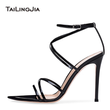 Women Open Pointed Toe High Heel Sandals Black Sexy Shiny Sliver Strappy Dress Shoes  Ladies Summer Stiletto Party Heels 2019 цены онлайн