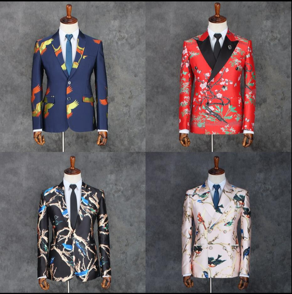 HOT Korean New Men's host red suit dress Slim flower pattern singer stage costumes tide Double-breasted printing formal dress