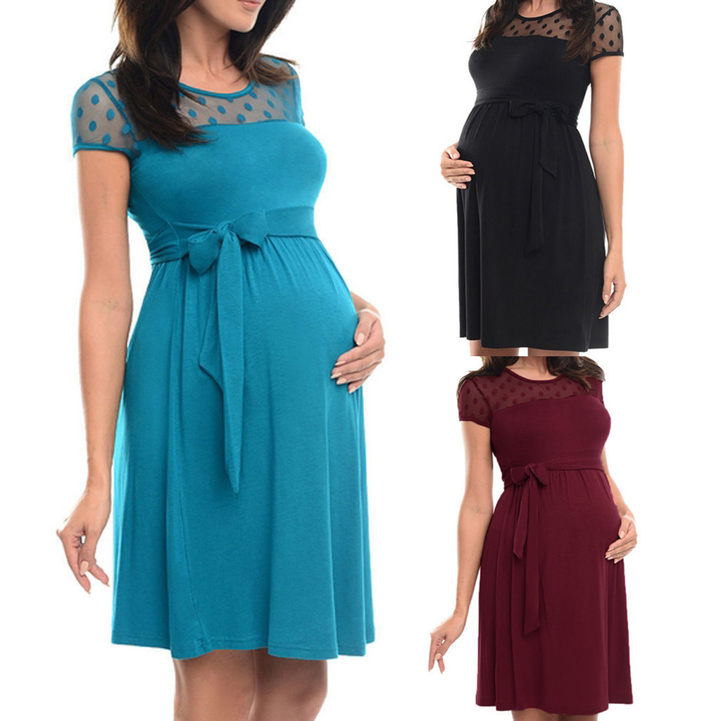 Maternity Dress Summer Sexy Maternity Dress Pregnant Lace O-Neck Pure Color Lace-up Short Sleeve Dress Zwangerschaps Kleding(China)