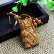 Новинка, хит, удача, кошка, резьба, деревянная подвеска, брелок, брелок, декоративное украшение с деревянной резьбой, ювелирные изделия, аксессуары, подарки