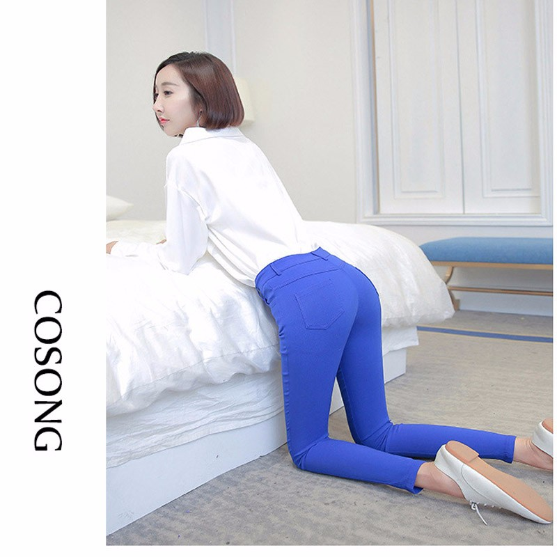 7 Colors Plus Size Pants Full Length Women Spring Autumn Pencil Pants Causal Slim High Waist Legging Stretch Trousers 2016 A663  6