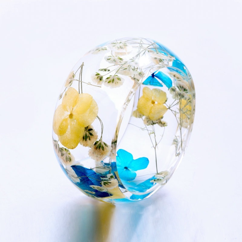 Transparent Resin Bangles Real Flower Babysbreath and Pincushion Bangles Bracelet for Women Handmade Women Bracelet 65mm купить в Москве 2019