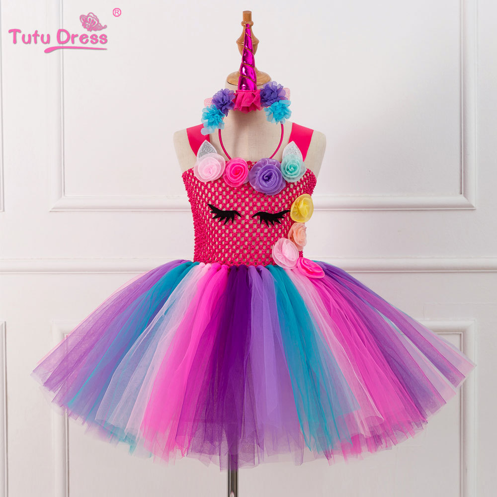 65d3ff5c13155 Flower Girls Unicorn Tutu Dress Pastel Rainbow Princess Girls Birthday  Party Dress Children Kids Halloween Unicorn Costume 3 -8T