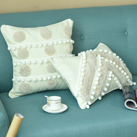 Handmade Cushion Cover Morocco Style Ivory Pillow Case with Cute Ball For Sofa Seat Simple Home Decor Linen 45*45cm 30x50cm