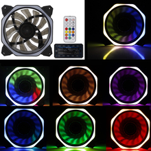 CPU Computer Fan Computers Case PC Cooling Fan RGB Adjust LED 120mm Quiet + IR Remote Computer Cooler Cooling RGB Case Fan sxdool 120mm led case fan 12v 4pin 120x25mm for computer pc host cpu cooling fan