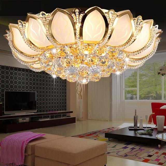 Modern Circle Gold Lotus Crystal Lamp Ceiling Light Living Room Lights Led Lamps