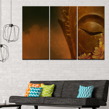 Lienzo pintura ojos y flores de Buda 3 piezas arte de pared pintura papel tapiz Modular póster impresión para sala de estar decoración del hogar