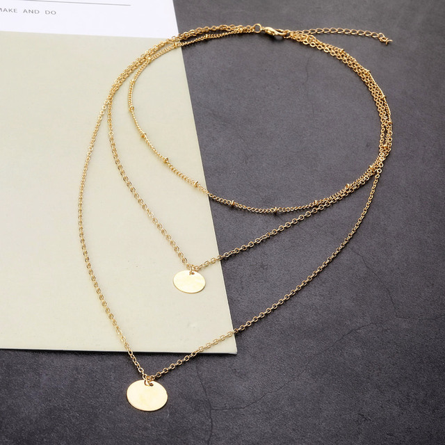 Fashion Gold Color Multi Layer Chain Necklace for Women Delicate Sequins Long Pendant Necklaces 2019 Bohemian Jewelry Wholesale Accessories Jewellery & Watches Women's Fashion