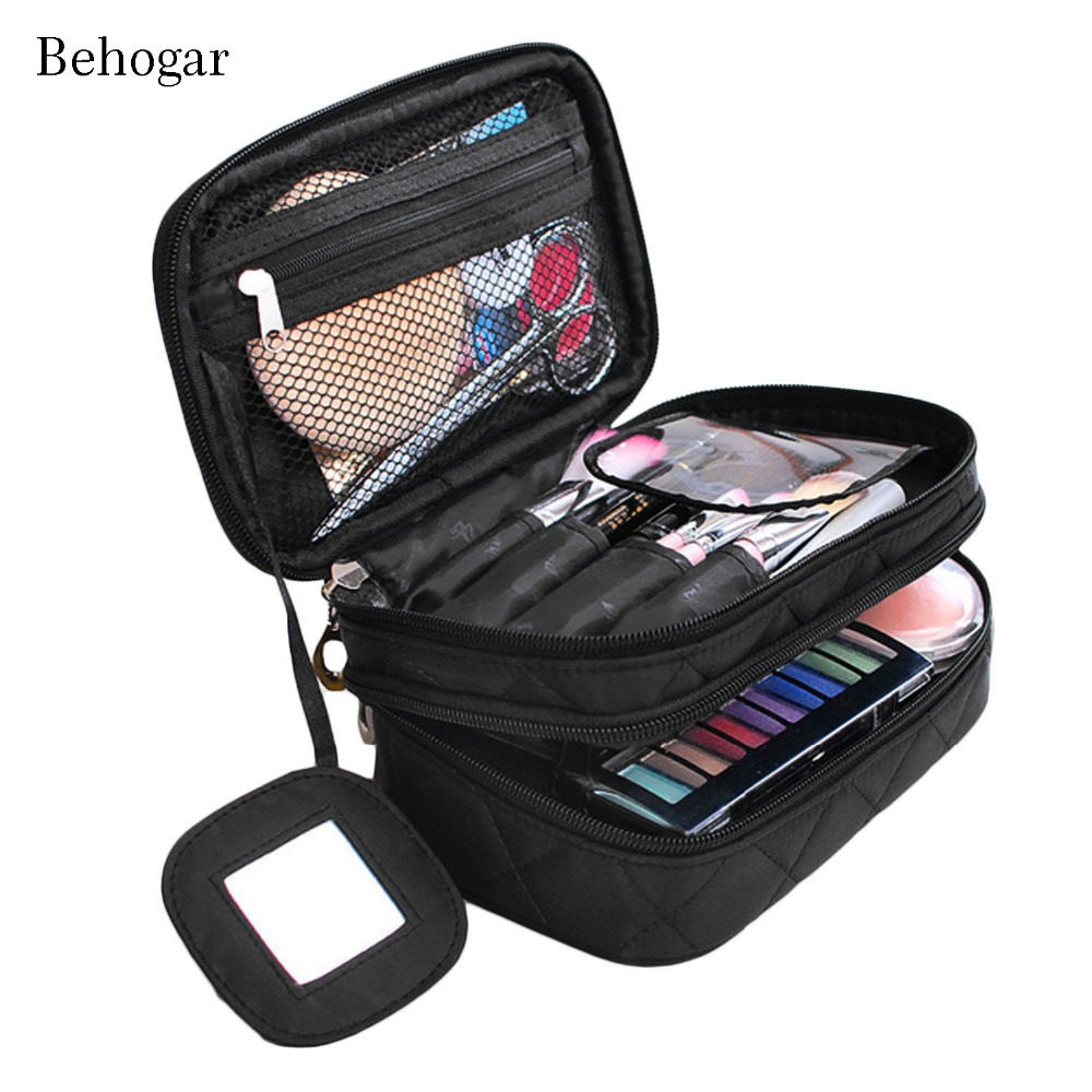 Behogar Portable Women Men Travel Toiletry Makeup Cosmetic Organizer Shower Wash Shaving Storage Bag Case Household Grooming Kit