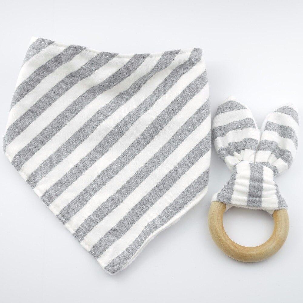 baby dribble bib Bib and Teething Ring Set wooden teething ring