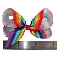 ФОТО wholesale 6 inch rainbow hair bow hair clips hairpins hairgrips boutique large hair ribbon bows children girls hair accessories