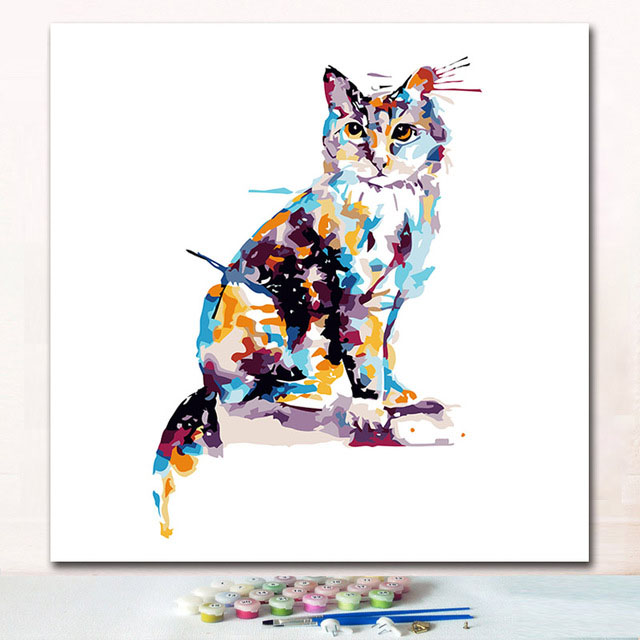 Coloring paints by numbers Watercolor colorful cats pictures paintings animals with colours on canvas for children