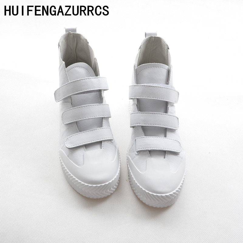 HUIFENGAZURRCS Korean version of high quality real leather flat bottomed casual boots fall new leather shoes