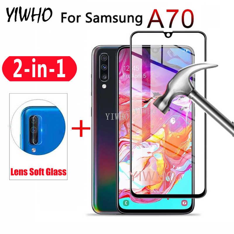 Couverture complète dans l'objectif de la caméra pour Samsung Galaxy A70 2019 protecteur d'écran verre trempé A70 A 70 70a A705f Film de protection en verre