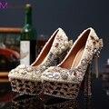Сладкий кисточкой перл кристалл круглый носок женская обувь женщин на высоких каблуках вечерние ну вечеринку свадебное платье роскошь невесты обувь