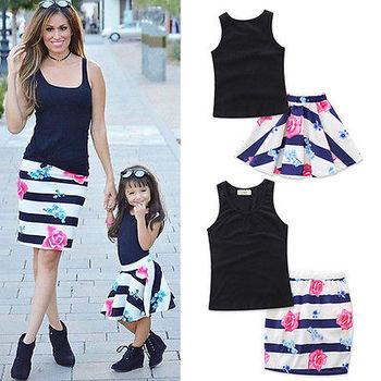 Fashion Mother Daughter Women Kid Girls Summer Vest+Skirt Floral Dresses Outfits