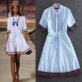 High Quality 2016 Summer And Autumn New Fashion Runway Collar Stitching Comfortable Cotton Webbing Crimp Women's Dress