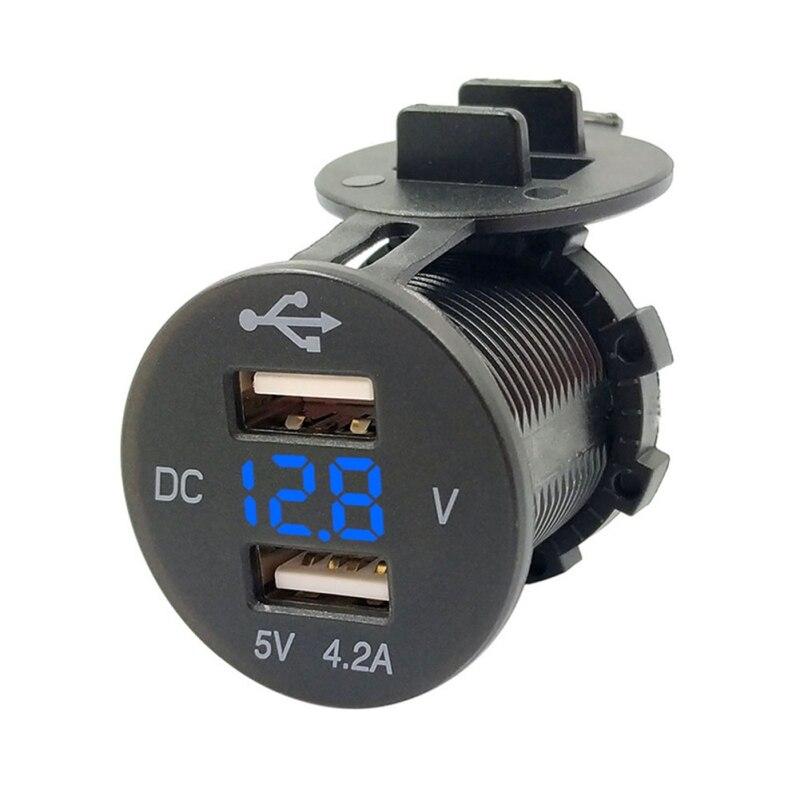 Разветвитель Прикуривателя Авто адаптер питания розетка 12 В LED двойной USB 2 порта автомобильное зарядное устройство для телефона с DC Вольтме...
