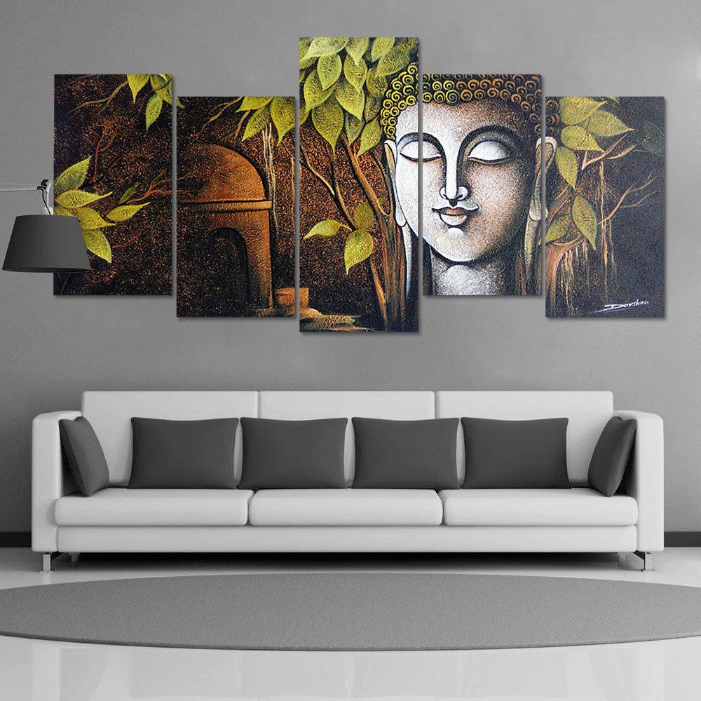 5pcs Modern Buddha Canvas Painting Wall Art Home Decor Picture Print Decor Set