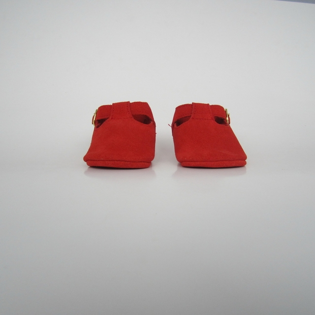 Red suede Handmade Geninue Leather Infant T-bar baby Shoes