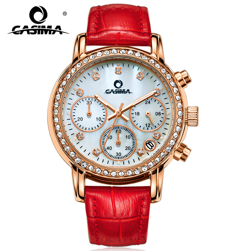 Fashion Luxury Brand Watches Women Elegant Leisure Gold Crystal Women's Quartz Wrist Watch Red Leather Waterproof CASIMA #2603 seiko настенные часы seiko qxa615bn z коллекция настенные часы