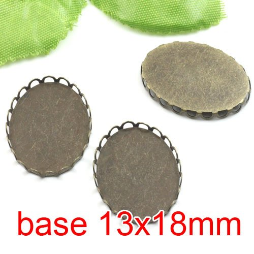 Free shipping!!! 300pcs oval silk bronze Picture Frame charms Pendants 13x18mm,Cameo Cab settings