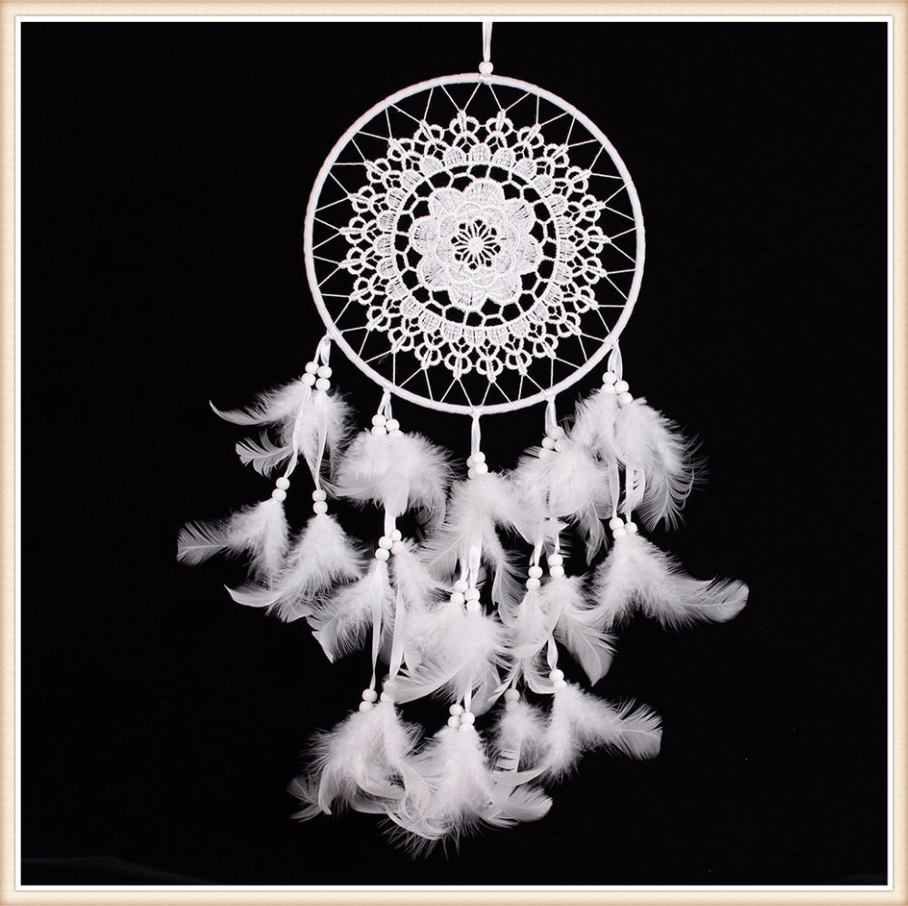 Pure White Feather Woven Dream Catcher Circular Net With: ⑤White Handmade Dream ④ Catcher Catcher With Lace Net And