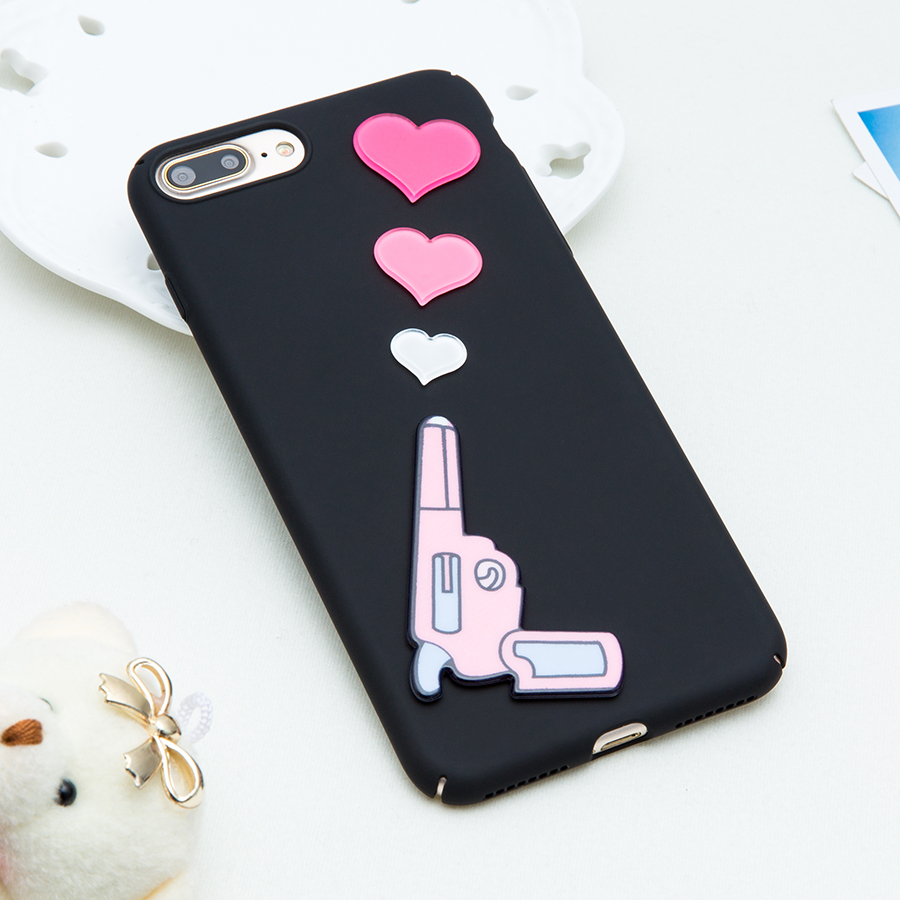 Cute 3D DIY Cartoon Loving Heart Pistol Gun Case for iphone 7 6 6s Plus Cover Fashion Hard Plastic Protector Shell Phone Cases