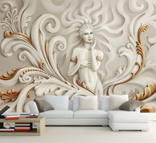 Custom  Wall Paper Goddess Of Mercy Gold Embossed Wallpaper Sofa Living Room TV Backdrop Sticker YBZ009