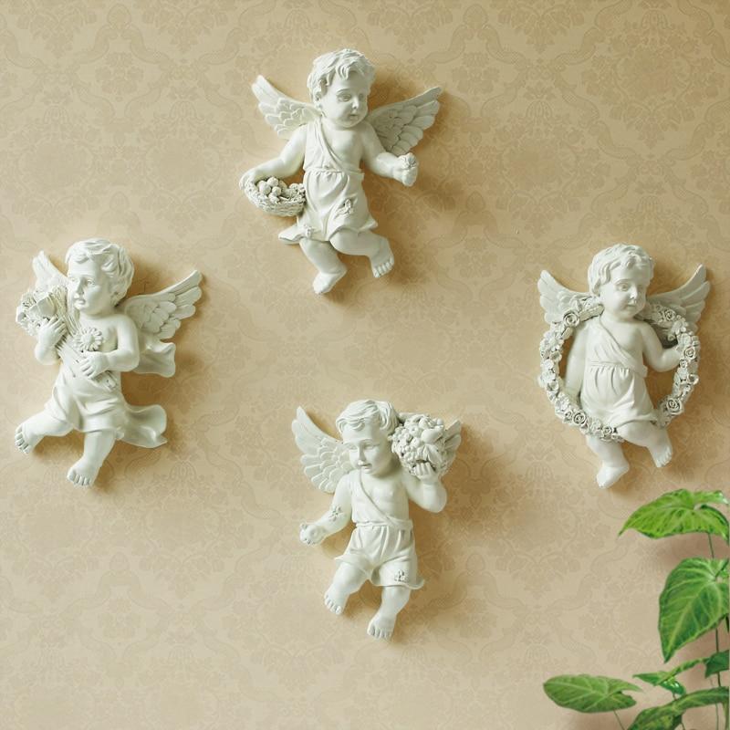 Resina Europea Ángel adornos decorativos pared sala de estar TV telón de fondo pared creativa pastoral hogar decoraciones - 5