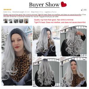 Image 5 - Element długa syntetyczna różowa peruka naturalne fale peruki dla białych/czarnych kobiet środkowa część żaroodporna peruka do Cosplay 5 kolorów