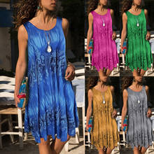 2019 Hot Sale Women Mini Party Dresses Fashion Womens Plus Size O-Neck Printing Sleeveless Vest Easy Dress sales