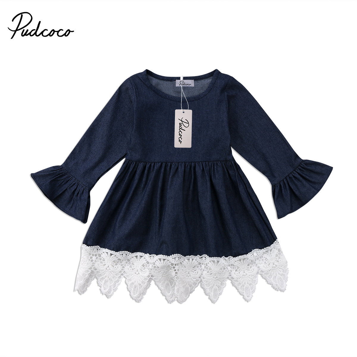 Infant Kid Baby Girls Long Sleeve Denim Dress Party Pageant Lace Splice Mini Dress